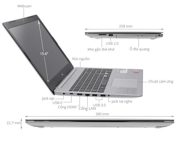 Laptop DELL Inspiron 5570 M5I5238W Core i5 - 8250U/2G VGA/W10